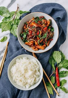Thai Chicken Stir-fry with Basil & Mint is the answer to your weeknight dinners. This homemade Thai Chicken stir-fry is better than your local Thai takeout. Mint Recipes, Spicy Recipes, Asian Recipes, Chicken Recipes, Cooking Recipes, Healthy Recipes, Ethnic Recipes, Healthy Breakfasts, Healthy Snacks
