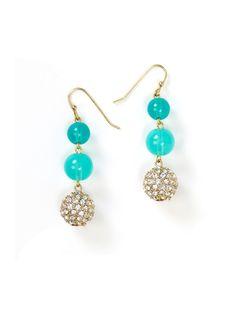 Aqua Bead and Fireball Drop Earrings
