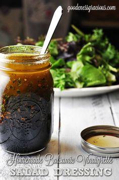 Homemade Balsamic Vinaigrette Salad Dressing- This stuff is ah-mazing good!