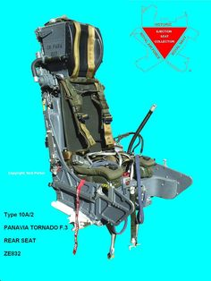 This is a Tornado Martin Baker Type 10A/2 Ejection seat. To make this seat complete a replica oxygen regulator and rocket pack have been fitted. A Hawk survival pack has also been used.