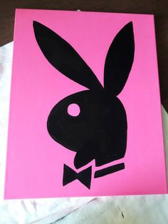 Classic Play Boy Bunny by on Etsy Small Canvas Paintings, Easy Canvas Art, Small Canvas Art, Cute Paintings, Mini Canvas Art, Disney Canvas Art, Painting Canvas, Back Painting, Paintings With Quotes