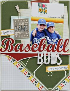 Mixing in Themed Patterned Paper: Baseball Buds - Two Peas in a Bucket    Love this!