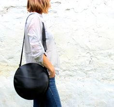 circle bag, round bag, simple leather crossbody bag
