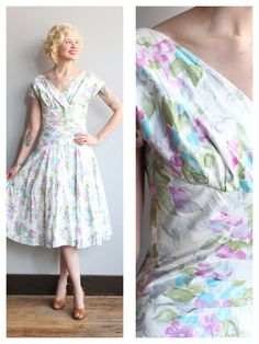 1950s Dress // Fresh Floral Alix of Miami Dress por dethrosevintage