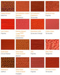 Yarn suggestions for Tangerine Tango, Pantone's color of the year