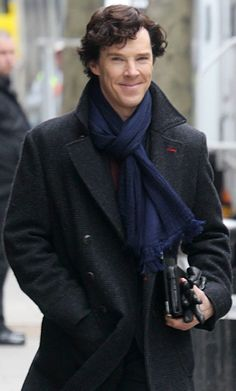 On the set of #Sherlock season 3 - that smile of his gets me every time :):):)