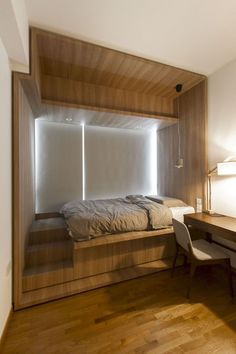 Haughty DIY Wooden Platform Bed Design Ideas - Page 15 of 27 Wooden Platform Bed, Platform Bedroom, Bed Platform, Small Master Bedroom, Home Bedroom, Modern Bedroom, Bedroom Decor, Bedroom Ideas, Bed Ideas