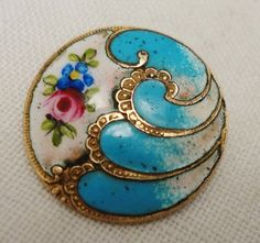 Antique enamel button: sky blue with gilt border