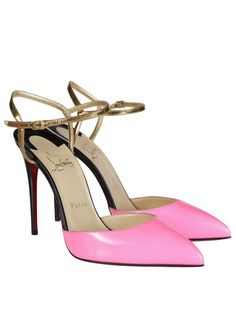 Rivierina Pumps from Christian Louboutin: Pink and gold patent leather featuring closed-toe dOrsay.