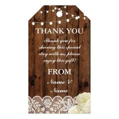 Thank you Tag Lace Favour Tags Wood Wedding