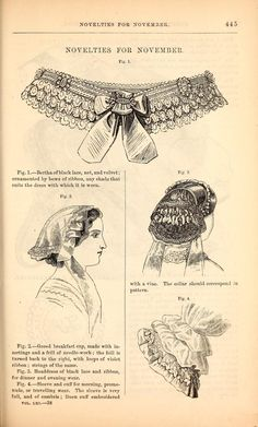 1860 Godey's. Left, gored breakfast-cap with insertion and needlework, and violet ribbon. Right, headdress (really a cache-peigne) of black lace and ribbon, for dinner and evening wear.
