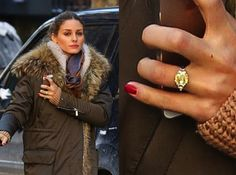 Olivia Palermo's canary yellow engagement ring with white diamond side accent side stones - very pretty and different!