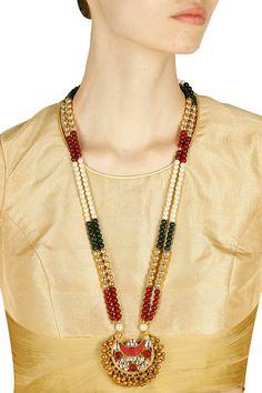 Gold finish double layered multicolour stones studded necklace available only at Pernia's Pop Up Shop.#perniaspopupshop #shopnow #shriharidiagems #bajiraomastani #bajiraomastanithefilm#partyseason #happyshopping #designer #accessories