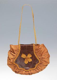 Bag, MMA, 2009.300.1979. 1840-1860. American, Silk & leather. 3 3/4 x 5 in.