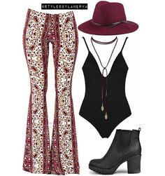 Styled for @michellepapss @boohoo shoes x @lulus floral pants x @bloomingdales choker x burgundy hat x @thedluxe bodysuit  #love#relationships#happy#boy#girl#cuteness#goals#follow4follow#cuple#like4like#polishgirl#inspo#nude#nudestyles#boohoo#bohemian#gypsy#gypsyatheart#vintage#vintagestyle#vintagelove#vintageclothing#1970sfashion#1970inspired#inspiration#love#1990sfashion#fashion#ahs#freespirit#wanderlust