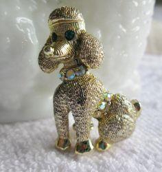 Poodle Pin AB Rhinestones Goldtone Dimensional by WeeLambieVintage, $12.00