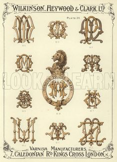 MN, MO, MP, MQ, MW, MR, MS, MT, MU, MY, MZ. Illustration for a catalogue of Monograms and Heraldic Designs by Wilkinson, Heywood & Clark Ltd, 7 Caledonian Road, London N, early 20th century. - Licences available from £9.99