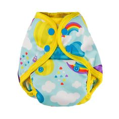 Up & Away - Tuck-Wrap-Go Cover - Size 1 (Newborn/SM) – Nuggles Designs Canada #clothdiapers #newborndiapers #diapers #clothdiapercover  Cloth diaper with rainbows and hot air balloons