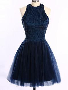 Short/Mini Scoop Neck Dark Navy Tulle Pearl Detailing Open Back Prom Dresses - dressesofgirl.com