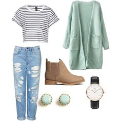 A fashion look from November 2014 featuring Topshop jeans, H&M ankle booties and Daniel Wellington watches. Browse and shop related looks.