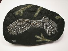 Saw-whet+Saw+Whet+Owl+hand+painted+on+a+rock+by+Ann+Kelly+#Realism Feather Painting, Pebble Painting, Pebble Art, Stone Painting, Rock Painting, Slate Art, Saw Whet Owl, Felt Owls, Story Stones