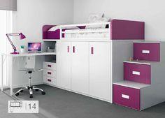 Dormitorio juvenil 069-KU2-14 | Muebles dormitorios juveniles online Singulárea 1272€ (253x101)