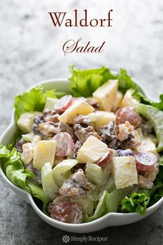 First presented at the Waldorf Astoria Hotel in 1893, the all-American Waldorf salad includes chopped apples, celery, grapes, and toasted walnuts in a mayonnaise dressing. On SimplyRecipes.com