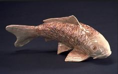 Japanese Koi Fish Clay Sculpture by Lundin Kudo