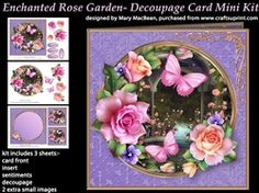 Enchanted Rose Garden   Decoupage Card Mini Kit on Craftsuprint - View Now!