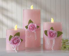 Pink Rose & Pearls Flickering Flameless Pillar Candles
