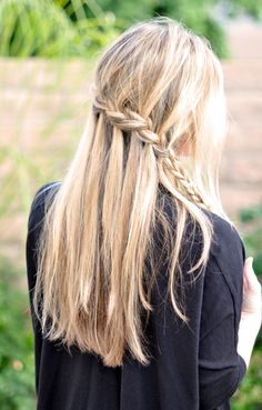 Waterfall Braid ~Check out this cool partial french braid cascade hair tutorial!!