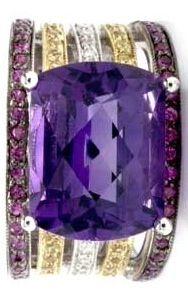 18k White Gold, Amethyst, Ruby, Yellow Sapphire & Diamond Ring