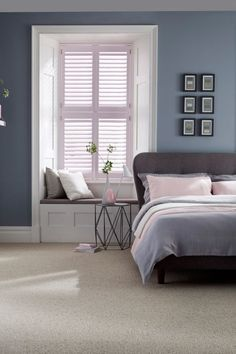 home accents bedroom Dusty greys and blues with added hints of pale pink make the perfect calming bedroom interior. Mix different textures and modern furniture will complete the look. Our House Beautiful Shutters range is a perfect addition to the room. Trendy Bedroom, Modern Bedroom, Summer Bedroom, White Bedroom, Cozy Bedroom, Minimalist Bedroom, Blue Grey Bedrooms, Minimalist Design, Blue And Pink Bedroom