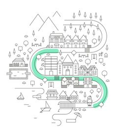 Sticktown by Paula Rusu, map, design, illustration Illustration Ligne, Illustration Design Graphique, Digital Illustration, Graphic Illustration, Map Illustrations, Web Design, Line Design, Icon Design, Illustration Inspiration