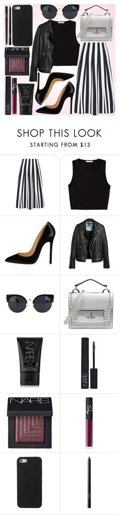 """""""STRIPES D.A.Y"""" by fashionstylenoww ❤ liked on Polyvore featuring Alexander Wang, Pieces, Christian Louboutin, Marc Jacobs, NARS Cosmetics, stripes, blackandwhite and NARSmakeup"""