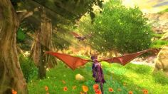 Spyro and Cynder flying through the forest