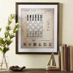 "Birch Lane Framed Vintage Blueprint, Chess Board | Birch Lane - has a set that is checkers 20"" H x 17"" W x 1.2"" D"