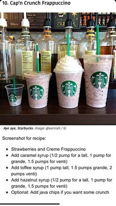 Cap'n crunch Frappuccino Starbucks Frappuccino, Starbucks Hacks, Bebidas Do Starbucks, Iced Starbucks Drinks, Starbucks Secret Menu Items, How To Order Starbucks, Starbucks Secret Menu Drinks, Starbucks Recipes, Drink Recipes