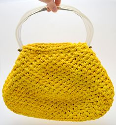 Vintage MM Crochet Straw Purse with Lucite Handles, Bright Yellow Morris Moskowitz Straw Handbag, circa 1950s by UpswingVintage on Etsy