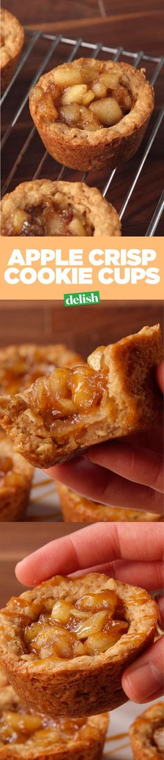 Apple crisp cookie cups use oatmeal cookie dough in the most ingenious way. Get the recipe on http://Delish.com.