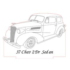 37 Chevy sedan 3d illusion lamp plan vector file for CNC - 3bee-studio