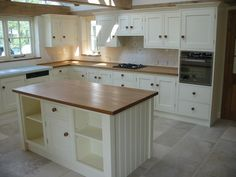 Hand Painted Kitchen With Oak Worktop