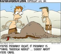Needle through camel?
