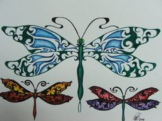 Colorful Dragonflies Tattoo Design