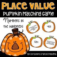 Pumpkin themed place value matching activity in the hundreds. Great activities for centers, small group instruction, or as a whole class review.