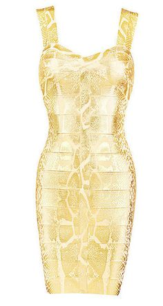 3677173430a  Frederique  Golden Snakeskin Bandage Dress