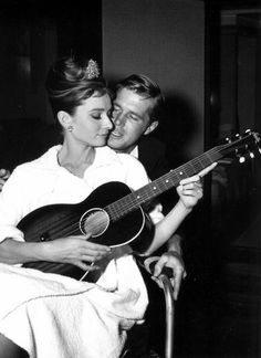 Audrey Hepburn and George Peppard on the set of Breakfast at Tiffany's. (1961)