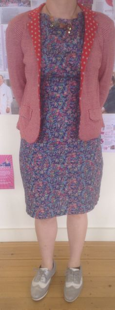 #MMM14 day 20. Dress: By Hand London Anna bodice with self-drafted skirt in Liberty Tana lawn (ah, so that's where all my money goes), reversible knit jacket from Topshop, necklace made by me from vintages beads etc, shoes from Clarks