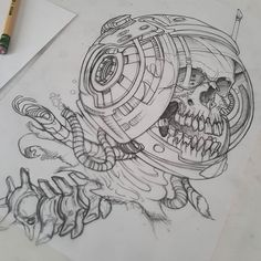 Super stoked to tattoo this one  #tattoo #tattooing #tattooed #seventhsontattoo #sanfrancisco #california #tattooedgirls #girlswithtattoos #scifi #sciencefiction #robot #conceptart  #art #artist #drawing #beer #food #sushi