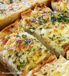 Recipe for Bubbly Cheese Garlic Bread - We love all varieties of bread. Add a little garlic, some butter, a bunch of cheese, and throw it in the oven…and we're even hnappier!